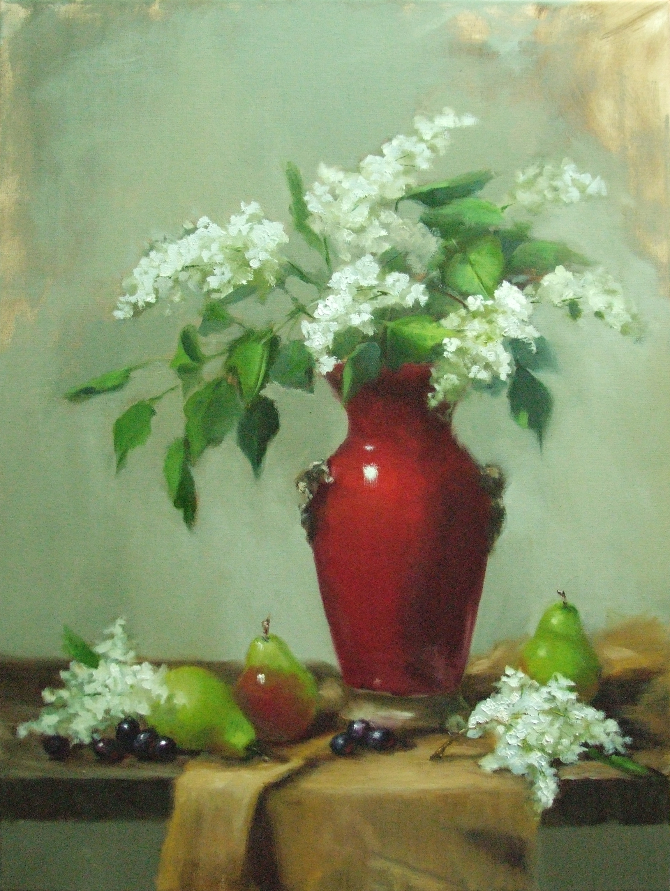Lilacs in Red Vase 24×18