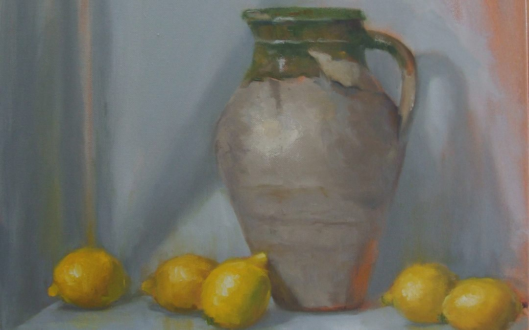 Lemons with Olive Jar   18 x 18