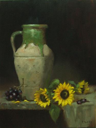 Olive Jar and Sunflowers   20 x 16